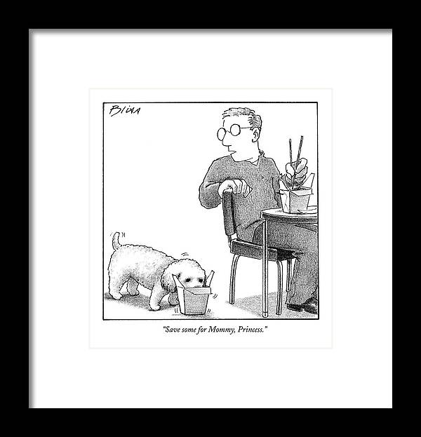Food Framed Print featuring the drawing Save Some For Mommy by Harry Bliss
