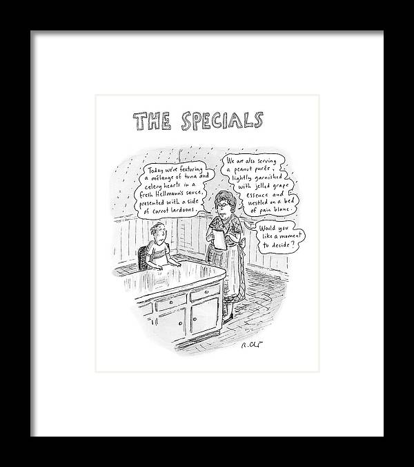 Food Dining Low Cuisine Service Restaurants Word Play  (waitress Reads Framed Print featuring the drawing The Specials by Roz Chast