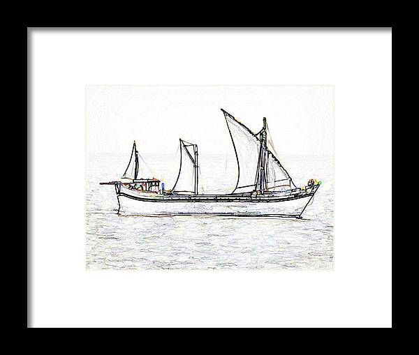 Action Framed Print featuring the digital art Fishing Vessel In The Arabian Sea by Ashish Agarwal