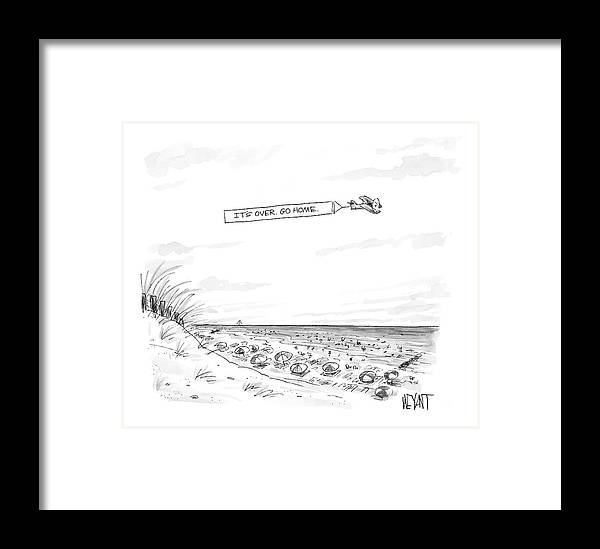 Seasons Summer Seashore  (plane Flying Over Crowded Beach With Message That Reads Framed Print featuring the drawing New Yorker September 12th, 2005 by Christopher Weyant
