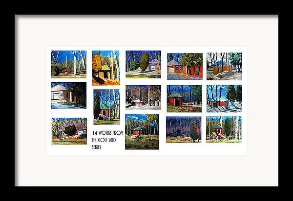 Collected Works In A Series Framed Print featuring the photograph 14 Works From The Golf Shed Series by Charlie Spear