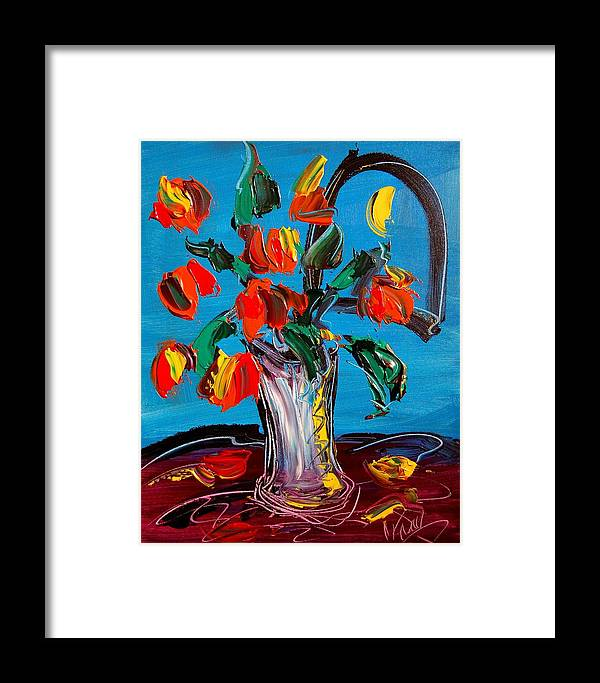 Flowers Framed Print featuring the painting Flowers by Mark Kazav
