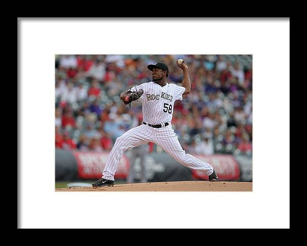 Professional Sport Framed Print featuring the photograph St. Louis Cardinals V Colorado Rockies by Doug Pensinger