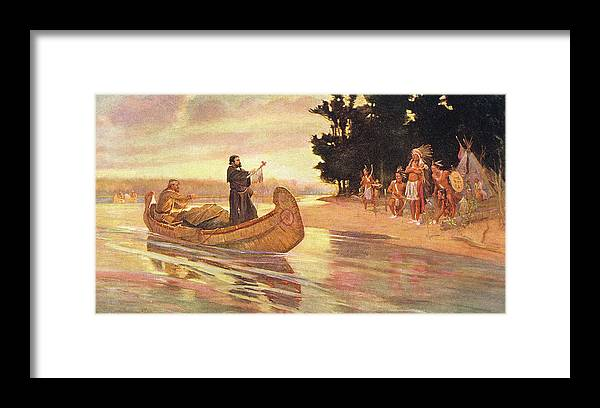 Horizontal Framed Print featuring the painting 1600s 1600s Father Jacques Marquette by Vintage Images