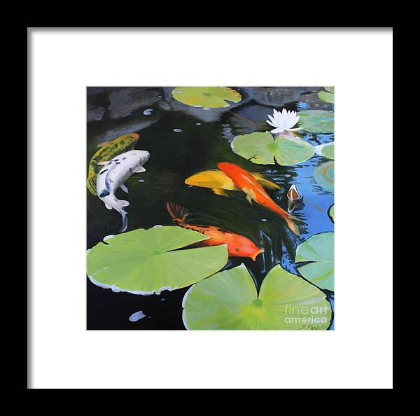 Koi Carp Framed Print featuring the painting 1609 Lazy Afternoon by Diana Marshall