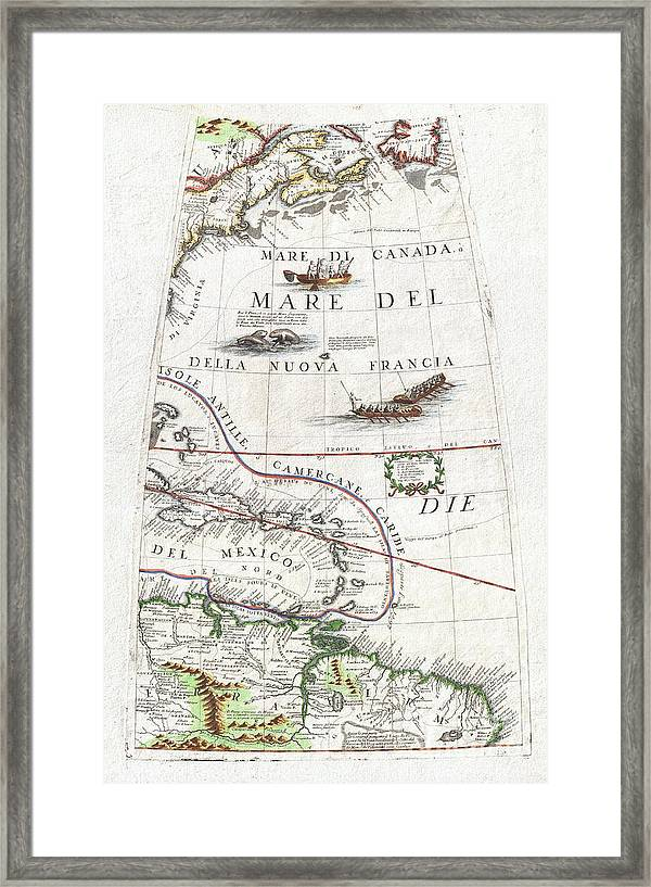 image relating to Printable Map of North and South America identify 1688 Coronelli Entire world Gore Map Of Ne North The usa The West Indies And Ne South The usa Framed Print
