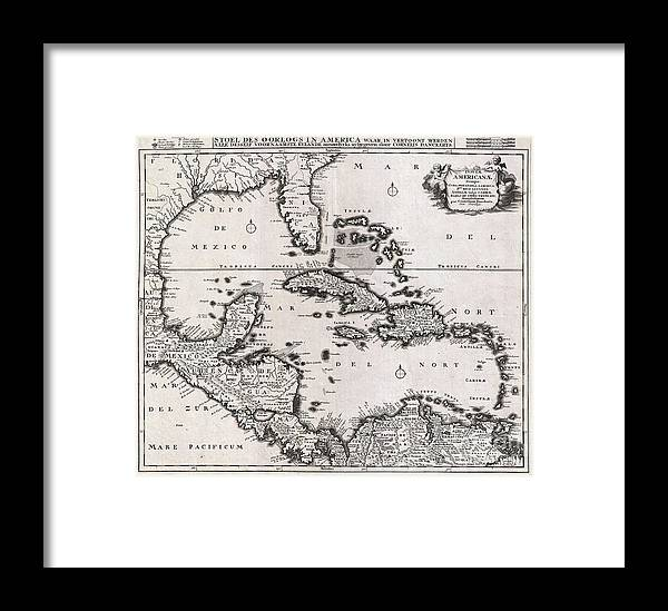 1696 Danckerts Map Of Florida The West Indies And The Caribbean