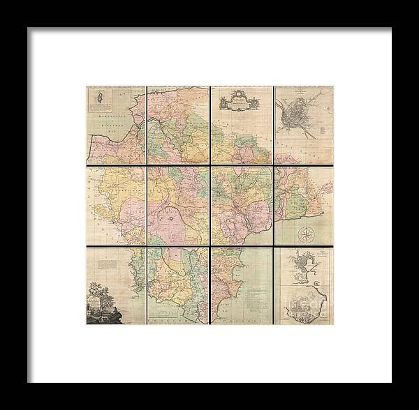1765 Benjamin Donn Wall Map Of Devonshire And Exeter England Framed