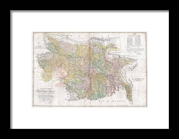 1776 Rennell Dury Wall Map Of Bihar And Bengal India Framed Print By