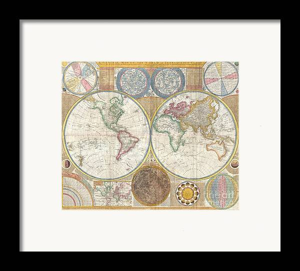 An Absolutely Stunning And Monumental Double Hemisphere Wall Map Of The World By Samuel Dunn Dating To 1794. This Extraordinary Map Is So Large And So Rich In Detail That It Is Exceptionally Challenging To Do It Full Justice In Either Photographic Or Textual Descriptions. Covers The Entire World In A Double Hemisphere Projection. The Primary Map Is Surrounded On All Sides But Detailed Scientific Calculations And Descriptions As Well As Northern And Southern Hemisphere Star Charts Framed Print featuring the photograph 1794 Samuel Dunn Wall Map Of The World In Hemispheres by Paul Fearn