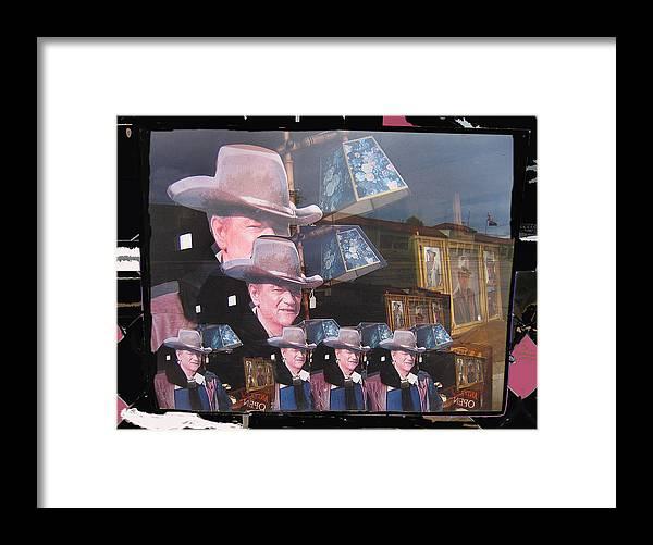21 Duke's John Wayne Cardboard Cutout Collage Tombstone Arizona 2004 Color Added Framed Print featuring the photograph 21 Duke's John Wayne Cardboard Cutout Collage Tombstone Arizona 2004-2009 by David Lee Guss