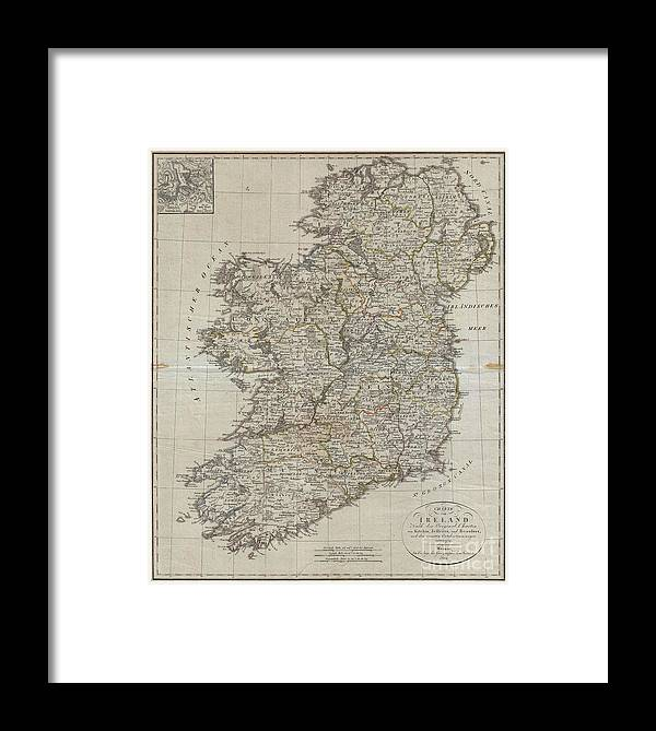 An Uncommon Map Of Ireland Dating To 1804. Though Published By The German Geographical Institute Framed Print featuring the photograph 1804 Jeffreys And Kitchin Map Of Ireland by Paul Fearn