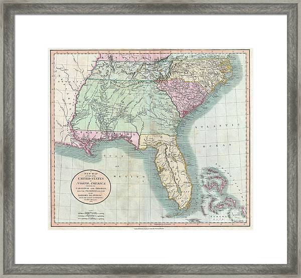 graphic relating to Printable Map of North Carolina known as 1806 Cary Map Of Florida Ga North Carolina South Carolina And Tennessee Framed Print