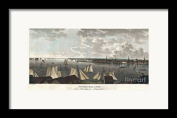 """A Fine And Highly Desirable 1824 Aquatint Of New York City And Harbor As Seen From Brooklyn. Based On A Drawing Composed By The Swedish Naval Officer Baron Axel Leonhard Klinkowström On His 1818 – 1820 Tour Of The United States. Klinkowström Was Sent To New York To Assess The Strategic Value Of The Newly Invented Steam Ship For The Use By The Swedish Navy. Accordingly This Stunning View Shows An Assortment Of Sail And Steam Ships Plying The New York Harbor. Stokes Notes That This """"view Is Interesting Particularly As Showing The Types Of Steam Ferries And Sail-boats In Use At This Period."""" No Description Of This Print Framed Print featuring the photograph 1824 Klinkowstrom View Of New York City From Brooklyn by Paul Fearn"""