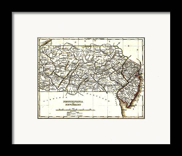 1835 Pennsylvania And New Jersey Map Framed Print featuring the drawing 1835 Pennsylvania And New Jersey Map by Bill Cannon