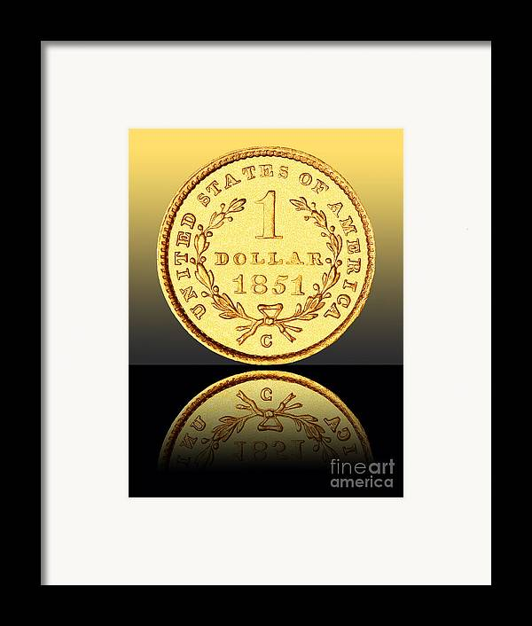 Coin Framed Print featuring the photograph 1851 1 Dollar Rare Charlotte Gold by Jim Carrell