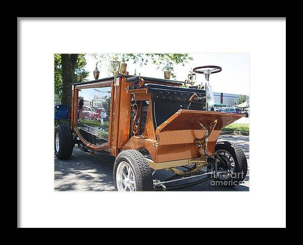 1852 Cunningham Hearse With 383 Chevy Stroker Engine Framed Print featuring the photograph 1852 Cunningham Hearse With 383 Chevy Stroker Engine by John Telfer