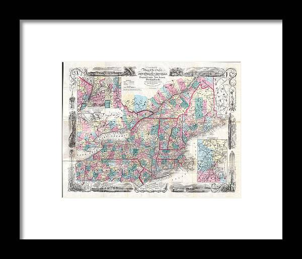 Framed Print featuring the photograph 1856 Colton Pocket Map Of New England And New York by Paul Fearn