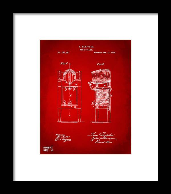 Beer Framed Print featuring the digital art 1876 Beer Keg Cooler Patent Artwork Red by Nikki Marie Smith