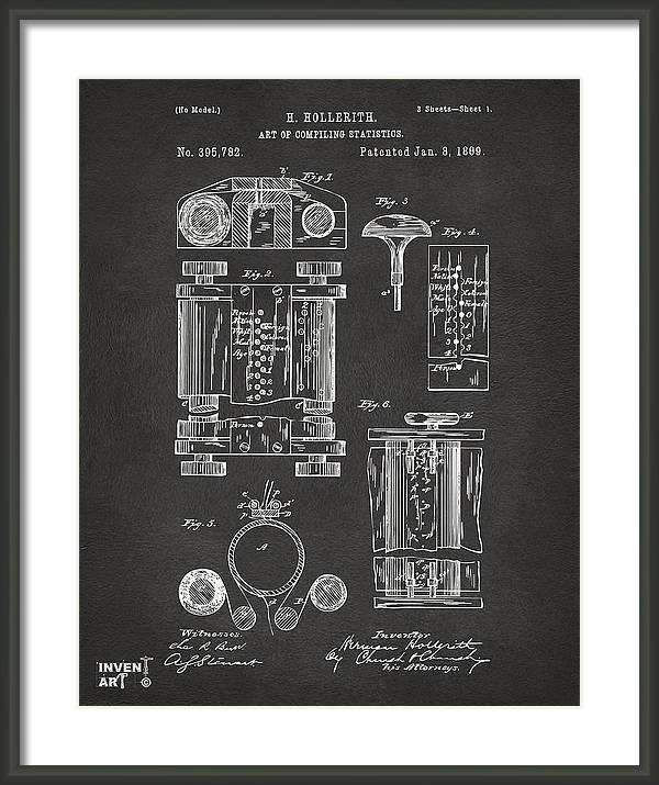 1889 First Computer Patent Gray by Nikki Marie Smith