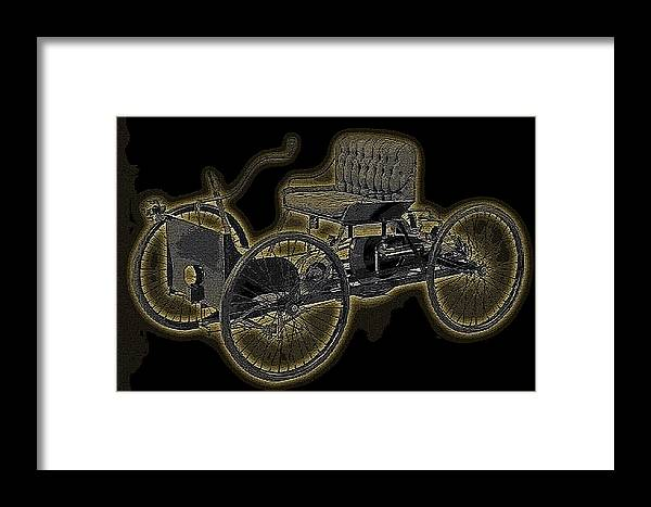 1896 Quadricycle Henry Fords First Car Framed Print featuring the digital art 1896 Quadricycle Henry Fords First Car by Marvin Blaine