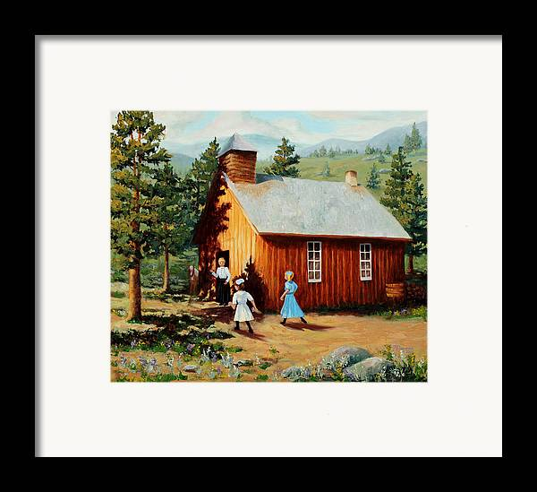 1800's Framed Print featuring the painting 1896 School House by Mary Giacomini