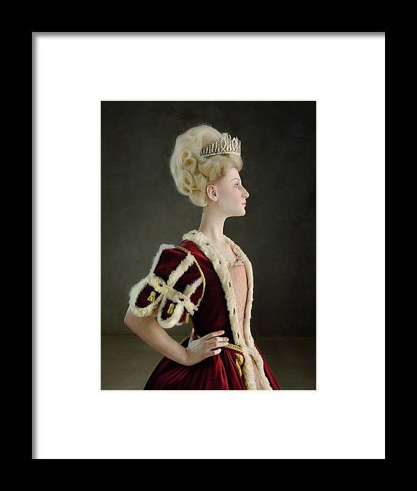 People Framed Print featuring the photograph 18th Century Queen Wearing Red Robe by Zena Holloway
