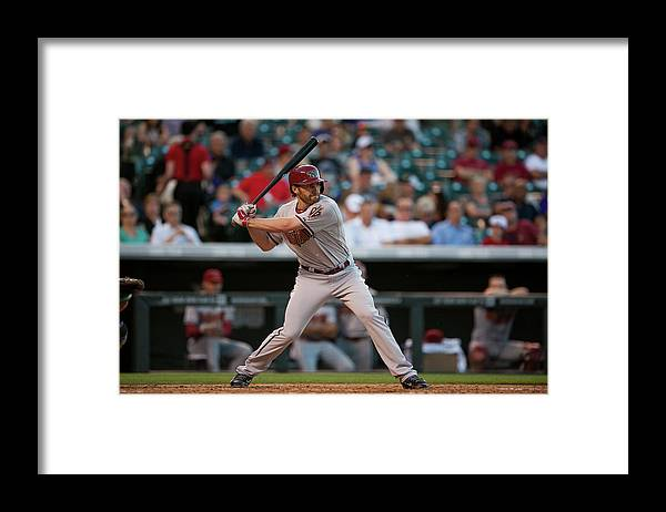National League Baseball Framed Print featuring the photograph Arizona Diamondbacks V Colorado Rockies by Dustin Bradford