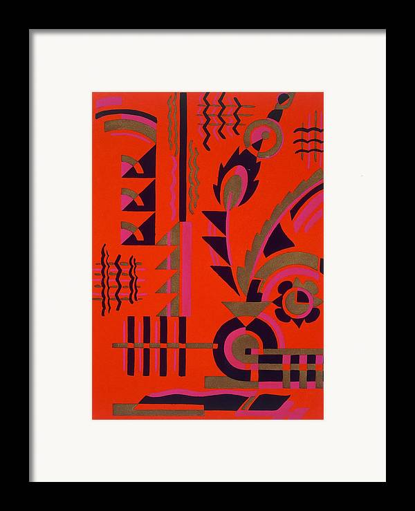 Motif Framed Print featuring the painting Design From Nouvelles Compositions Decoratives by Serge Gladky