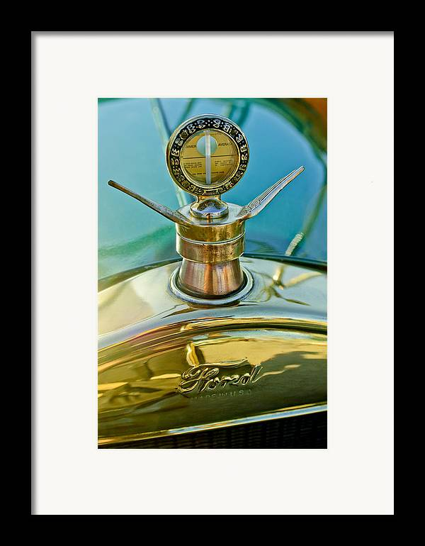 1923 Ford Model T Framed Print featuring the photograph 1923 Ford Model T Hood Ornament by Jill Reger
