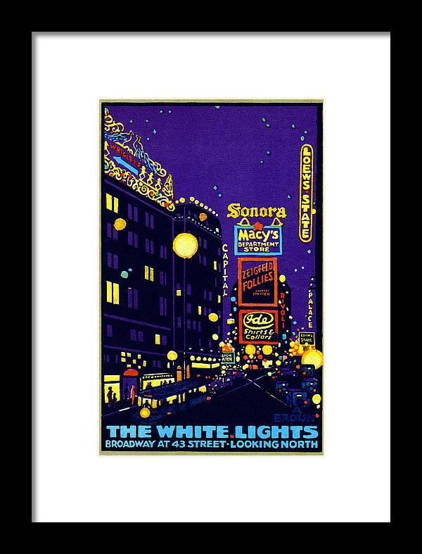 New York Framed Print featuring the painting 1925 New York City At Night by Historic Image