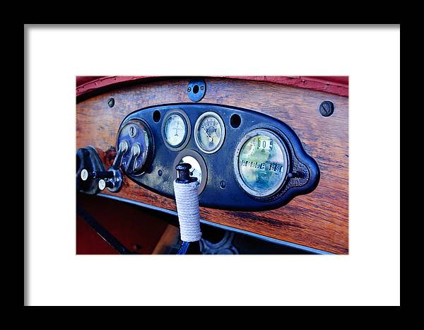 1925 Stutz Series 695h Speedway Six Torpedo Tail Speedster Dashboard Instruments Framed Print featuring the photograph 1925 Stutz Series 695h Speedway Six Torpedo Tail Speedster Dashboard Instruments by Jill Reger