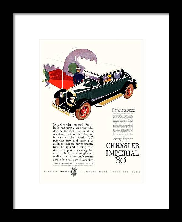 1926 Framed Print featuring the digital art 1926 - Chrysler Imperial Convertible Model 80 Automobile Advertisement - Color by John Madison