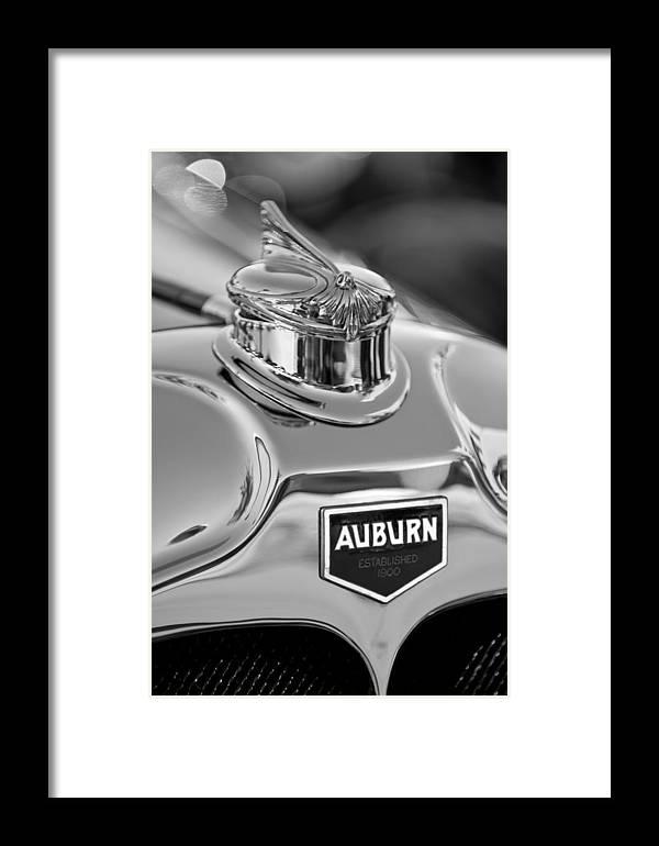 1929 Auburn 8-90 Speedster Framed Print featuring the photograph 1929 Auburn 8-90 Speedster Hood Ornament 2 by Jill Reger