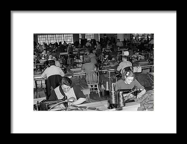 Photography Framed Print featuring the photograph 1930s 1940s Sweatshop With Workers by Vintage Images