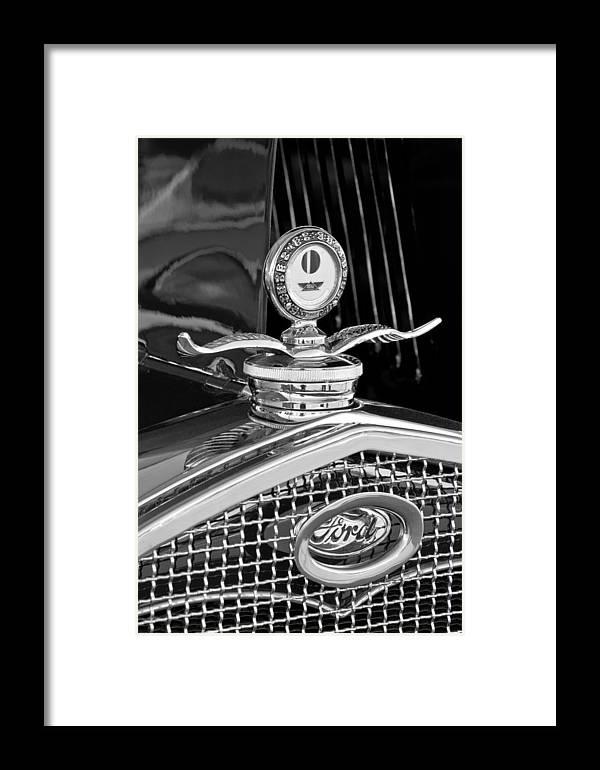 1931 Model A Ford Deluxe Roadster Framed Print featuring the photograph 1931 Model A Ford Deluxe Roadster Hood Ornament 2 by Jill Reger