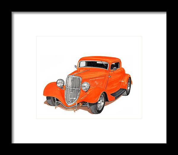 American Muscle Framed Print featuring the painting 1933 Ford Three Window Coupe by Jack Pumphrey
