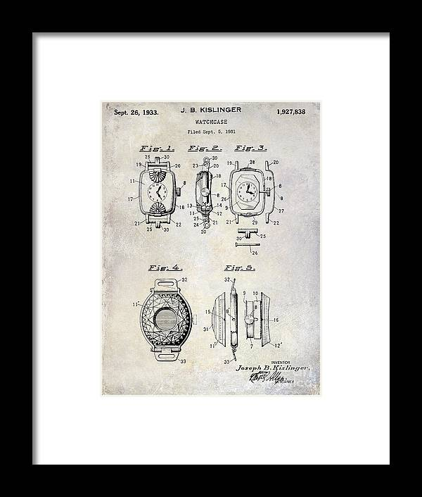 1933 Framed Print featuring the photograph 1933 Watch Case Patent Drawing by Jon Neidert