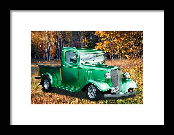 1934 Chev Framed Print featuring the digital art 1934 Chev Pickup by Richard Farrington