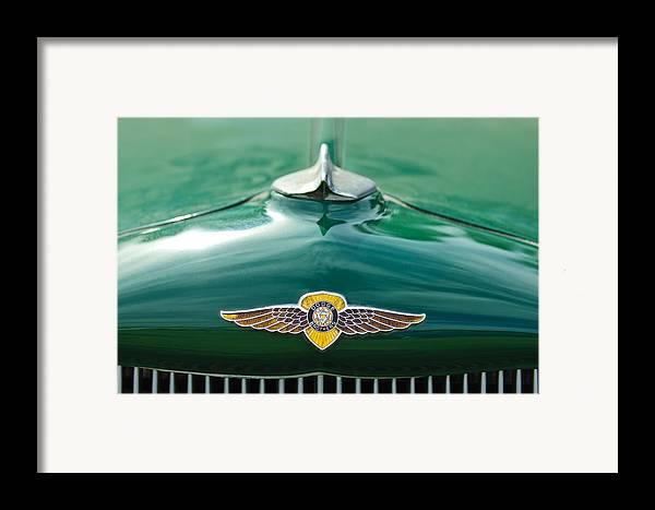 1934 Dodge Framed Print featuring the photograph 1934 Dodge Hood Ornament Emblem by Jill Reger