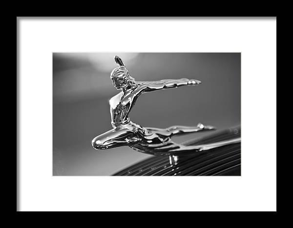 1935 Pontiac Sedan Framed Print featuring the photograph 1935 Pontiac Sedan Hood Ornament 4 by Jill Reger