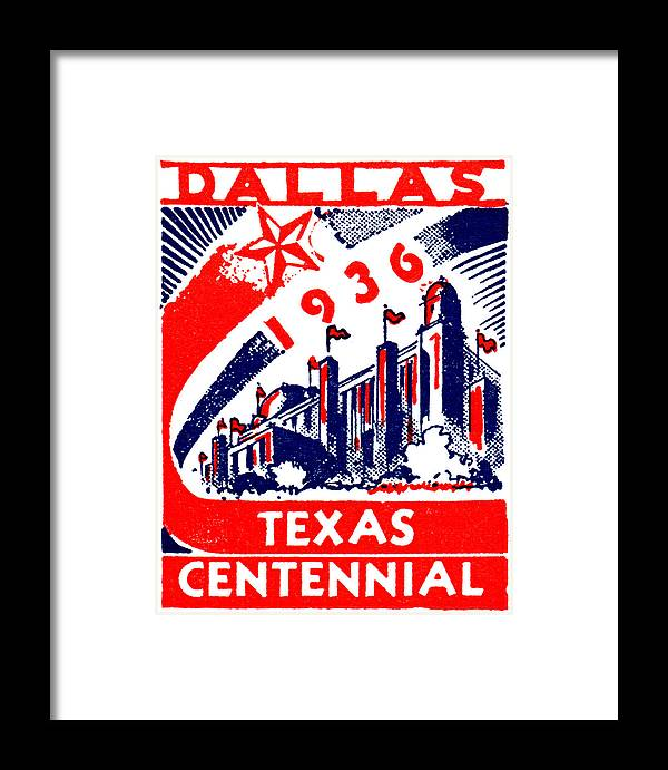 Historicimage Framed Print featuring the painting 1936 Dallas Texas Centennial Poster by Historic Image