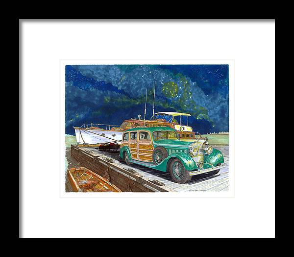 Classic Car Art Framed Print featuring the painting 1936 Hispano Suiza Shooting Brake by Jack Pumphrey