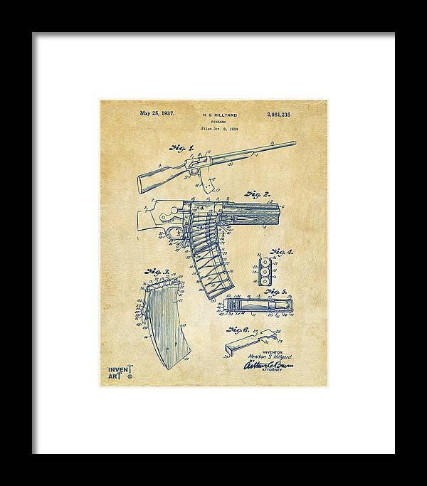 1937 Police Remington Model 8 Magazine Patent Artwork - Vintage Framed Print