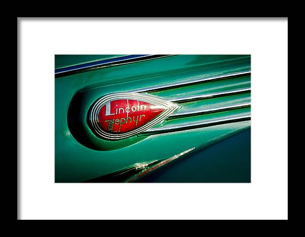 1938 Lincoln Zephyr Framed Print featuring the photograph 1938 Lincoln Zephyr Emblem by Jill Reger
