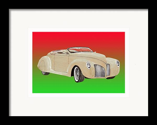 1939 Lincoln Zephyr Replicar By Speedster Framed Print featuring the painting 1939 Lincoln Zephyr Speedster by Jack Pumphrey