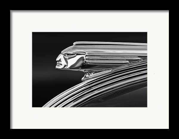 1939 Pontiac Silver Streak Framed Print featuring the photograph 1939 Pontiac Silver Streak Hood Ornament 3 by Jill Reger