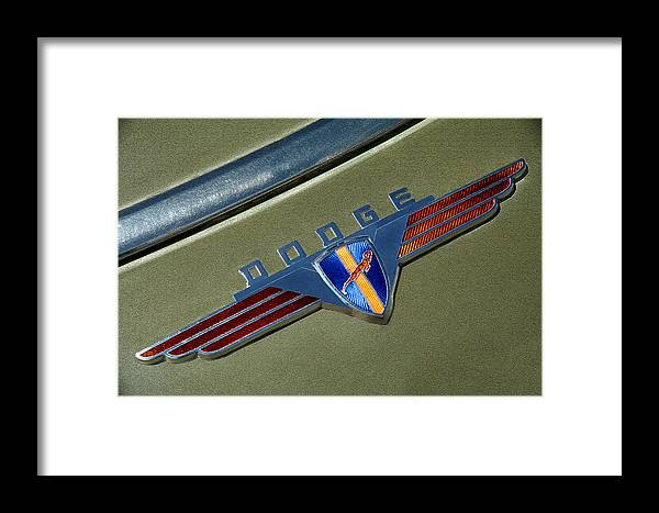 1940 Dodge Nameplate Framed Print featuring the photograph 1940 Dodge Nameplate by Mike Flynn