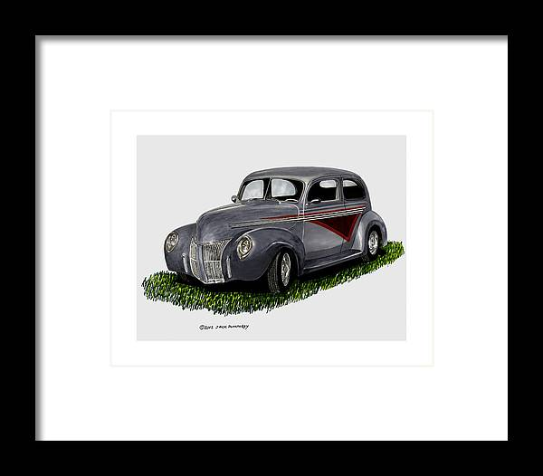 1940 Ford 2 Door Artwork Framed Print featuring the painting 1940 Ford Custom Street Rod by Jack Pumphrey