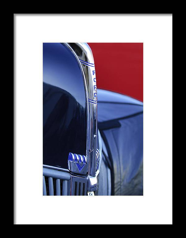 1940 Ford Framed Print featuring the photograph 1940 Ford Hood Ornament 2 by Jill Reger